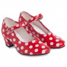 Spaanse schoenen stippen rood /wit